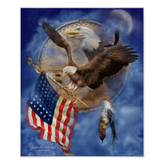 Dream Catcher - Freedom Eagle Art Poster/Print Poster