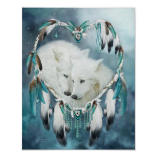 Dream Catcher - Heart Of A Wolf Art Poster/Print Poster