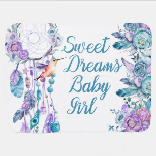 Boho Dreamcatcher Girl Pink baby blanket-Personalized baby shower gift