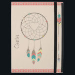 "Dream Catcher iPad Pro Case<br><div class=""desc"">Southwest Indian inspired iPad Pro case done in beige,  with graphics of a colorful arrow,  dream catchers and a tribal pattern edging,  on the top and bottom.  Personalize the brown text,  on the front of the case.   Makes an excellent gift idea.</div>"