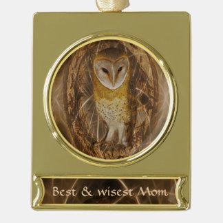 Dream catcher owl gold plated banner ornament