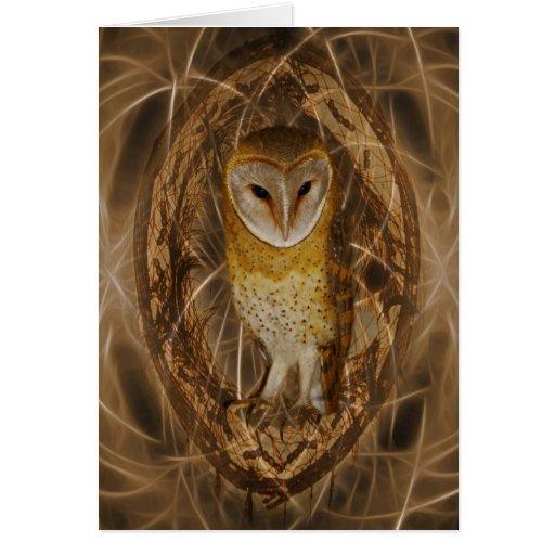 Dream catcher owl greeting card