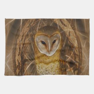 Dream catcher owl hand towel