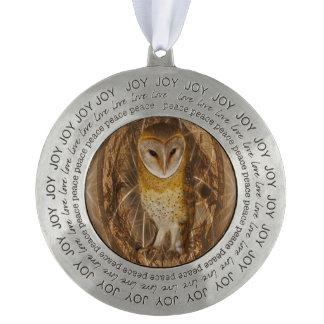 Dream catcher owl pewter ornament