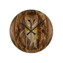 Dream catcher owl round clock