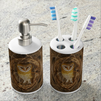 Dream catcher owl soap dispenser & toothbrush holder