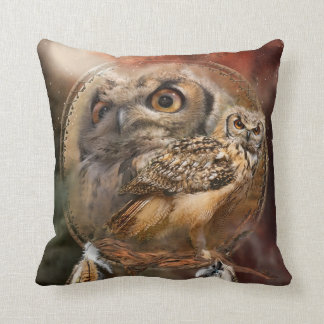 Dream Catcher - Owl Spirit Art Designer Pillow