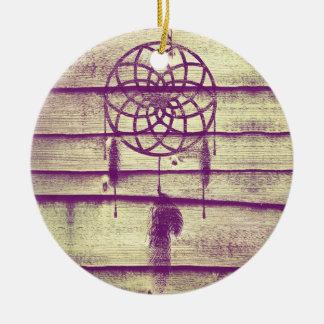 Dream Catcher Purple Wood Ceramic Ornament