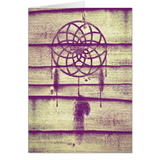 Dream Catcher Purple Wood Greeting Card