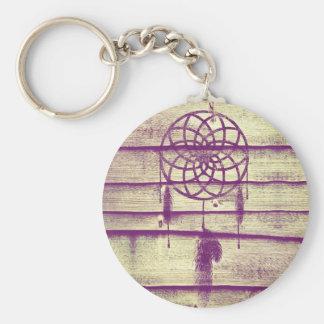 Dream Catcher Purple Wood Keychain