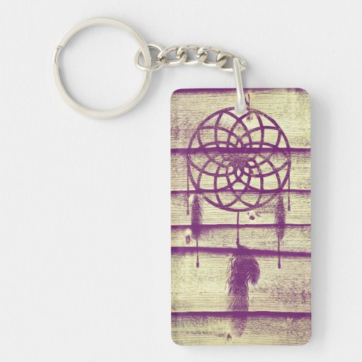 Dream Catcher Purple Wood Single-Sided Rectangular Acrylic Keychain