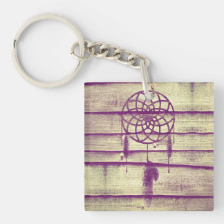 Dream Catcher Purple Wood Single-Sided Square Acrylic Keychain