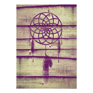 Dream Catcher Purple Wood Poster