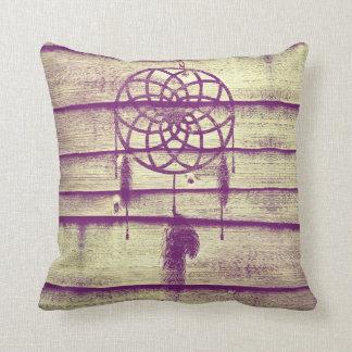 Dream Catcher Purple Wood Throw Pillow