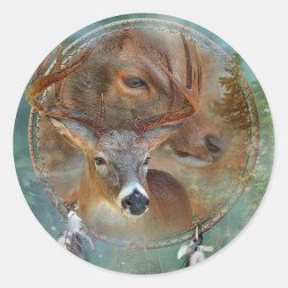 Dream Catcher Series-Spirit Of The Deer Art Sticke Round Sticker