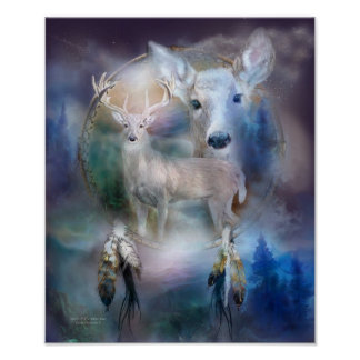 Dream Catcher Series-Spirit Of The White Deer Poster