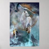 Dream Catcher Series-Spirit Wolf Poster/Print