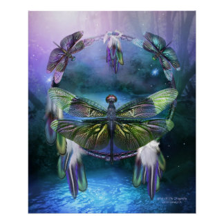 Dream Catcher-Spirit Of The Dragonfly Poster/Print
