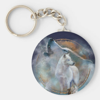 Dream Catcher - Spirit Wolf Art Keychain