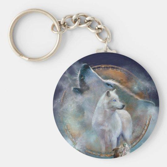Dream Catcher - Spirit Wolf Art Keychain
