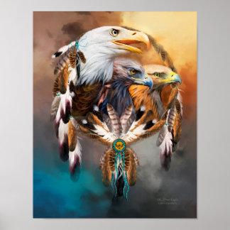 Dream Catcher - Three Eagles Art Poster/Print