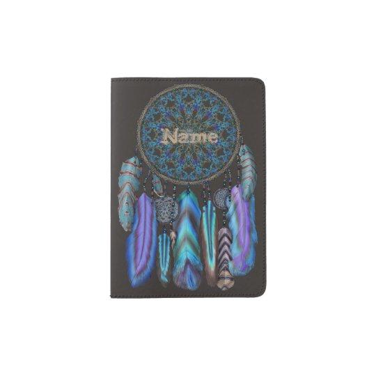 141c3c701 Dream catcher with a magic bird turquoise feathers passport holder ...