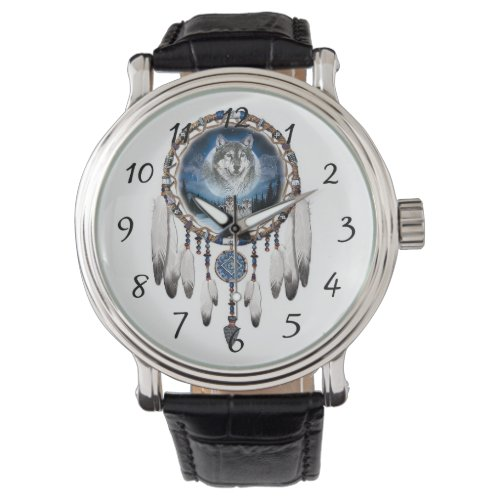 Dream Catcher with wolf background Wrist Watch