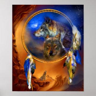 Dream Catcher - Wolf Dreams Art Poster/Print Poster