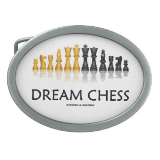 Dream Chess (Reflective Chess Set) Oval Belt Buckle