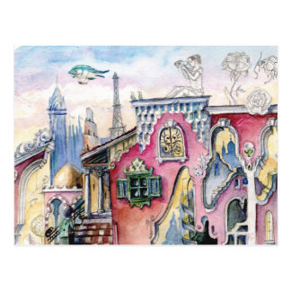 Dream city  watercolor postcard