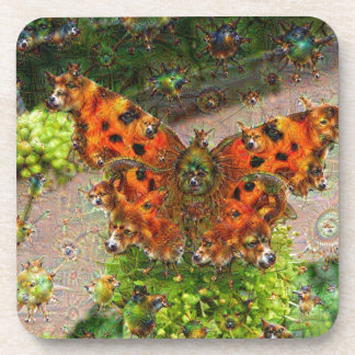 Dream Creatures, Butterfly, DeepDream Drink Coaster