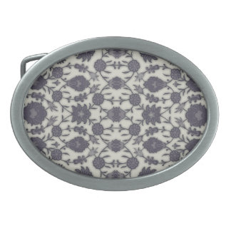 Dream Floral in Cream and Gray Oval Belt Buckle