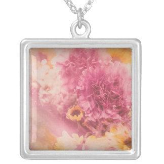 Dream Flowers Square Pendant Necklace