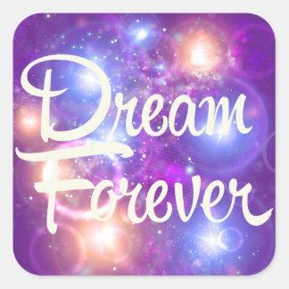 Dream Forever Purple Space Square Sticker