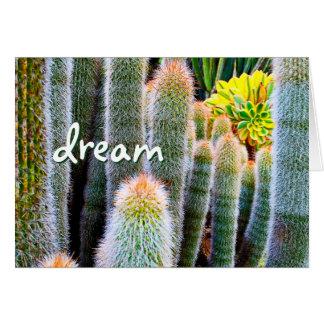 """Dream"" fuzzy green cactus photo blank inside card"