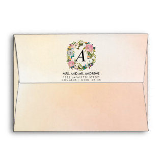 Dream Garden Floral Personalized Wedding Envelope