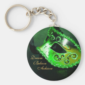 Dream Green Masquerade Mask Inspirational Keychain
