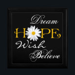 "Dream, Hope, Wish, Believe Keepsake or Jewelry Box<br><div class=""desc"">This large black, white, and yellow trinket box with the inspirational words dream, hope, wish, and believe on it has a large white shasta daisy flower head as the &quot;o&quot; in Hope can be used to store jewelry, mementos, or small keep sake items. The background color and the white words...</div>"