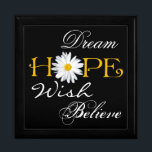 """Dream, Hope, Wish, Believe Keepsake or Jewelry Box<br><div class=""""desc"""">This large black, white, and yellow trinket box with the inspirational words dream, hope, wish, and believe on it has a large white shasta daisy flower head as the &quot;o&quot; in Hope can be used to store jewelry, mementos, or small keep sake items. The background color and the white words...</div>"""