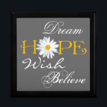 """Dream, Hope, Wish, Believe Keepsake or Jewelry Box<br><div class=""""desc"""">This large black, white, gray, and yellow trinket box with the inspirational words dream, hope, wish, and believe on it has a large white shasta daisy flower head as the &quot;o&quot; in Hope can be used to store jewelry, mementos, or small keep sake items. The background color and the white...</div>"""