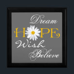 "Dream, Hope, Wish, Believe Keepsake or Jewelry Box<br><div class=""desc"">This large black, white, gray, and yellow trinket box with the inspirational words dream, hope, wish, and believe on it has a large white shasta daisy flower head as the &quot;o&quot; in Hope can be used to store jewelry, mementos, or small keep sake items. The background color and the white...</div>"
