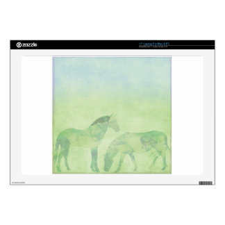 """Dream Horse: Watercolor horses in green meadow 17"""" Laptop Decal"""