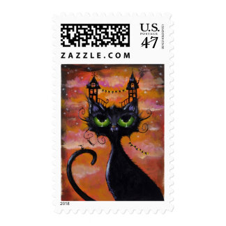 Dream House Cat postage stamp by Joanna Nelson