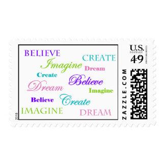 Dream Imagine Create Believe Stamp