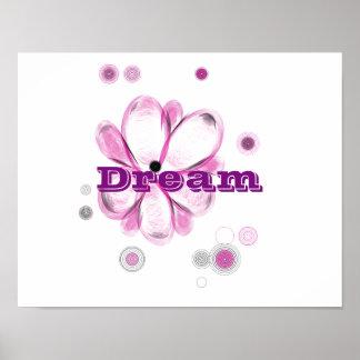 Dream Inspirational Custom Flower Art Poster