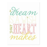dream is a wish postcard - red aqua yellow green