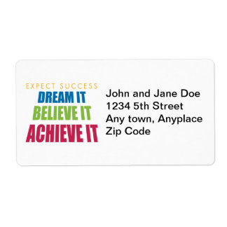 Dream It and Achieve It Labels