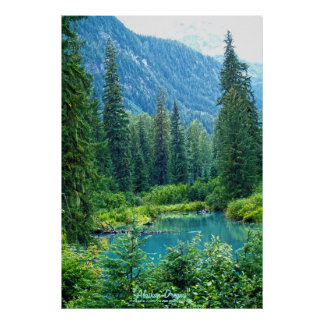Dream Lake Alaska, USA & Forested Mountains Photo Poster