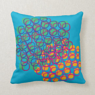 Dream-like colorful biomorphic abstract scene throw pillow