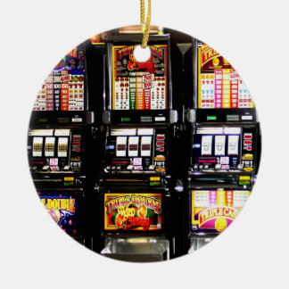 Dream Machines - Lucky Slot Machines Double-Sided Ceramic Round Christmas Ornament